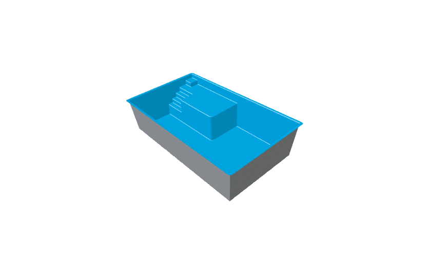 piscine-coque-plage-leucate-3d Modèle Leucate Plage